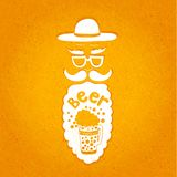 A bearded man with a mustache, glasses and a stylish hat. Typographic composition in his beard. The stylized face with a beard. Royalty Free Stock Images