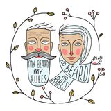 Bearded Man and No Beard Woman Portraits Royalty Free Stock Photos