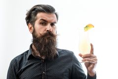 Bearded man with nonalcoholic cocktail Royalty Free Stock Photo