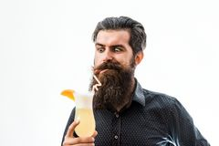 Bearded man with nonalcoholic cocktail. Handsome bearded man with stylish hair mustache and long beard on satisfied face holding glass of nonalcoholic cocktail Royalty Free Stock Photos
