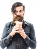 Bearded man with nonalcoholic cocktail. Handsome bearded man with stylish hair mustache and long beard on serious face holding glass of nonalcoholic cocktail Royalty Free Stock Images