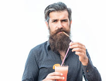 Bearded man with nonalcoholic cocktail Stock Image