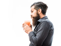 Bearded man with nonalcoholic cocktail. Handsome bearded man with stylish hair mustache and long beard on surprised face holding glass of nonalcoholic cocktail Stock Photography