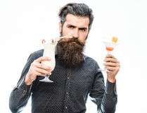 Bearded man with nonalcoholic cocktails Stock Image