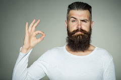 Bearded man with okey gesture. Handsome young man with long beard and moustache on face with okey gesture of finger on grey background in studio Stock Photos