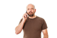 Bearded man at the phone Stock Images
