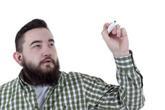 Bearded man in a plaid shirt Stock Photo