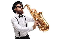 Bearded man playing a saxophone Royalty Free Stock Photo