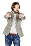 Bearded man pointing his finger against somebody. human emotion, Royalty Free Stock Image