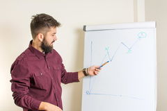 Bearded man presenting by the flipchart. Young bearded man presenting by the flipchart Stock Photo