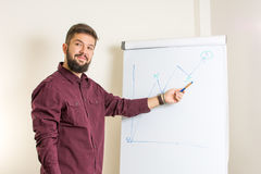Bearded man presenting by the flipchart. Young bearded man presenting by the flipchart Royalty Free Stock Images