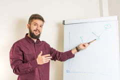 Bearded man presenting by the flipchart. Young bearded man presenting by the flipchart Royalty Free Stock Photos