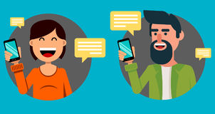 Bearded man and pretty woman with smartphone. Communicating with. Friends via modern mobile phone. Vector illustration on blue background Royalty Free Stock Photography