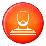 Bearded man in prison garb icon, flat style Royalty Free Stock Images
