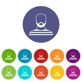 Bearded man in prison garb set icons Stock Image