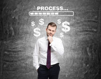 Bearded man, progress bar and dollar signs Stock Images