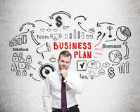 Bearded man, red and black business plan sketch Stock Photography