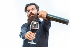 Bearded man with red wine. Handsome bearded rich man with stylish hair mustache and long beard on serious face in blue fashion shirt holding glass and pours red stock photo