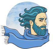 Bearded man in a scarf. Vector illustration: Bearded man in a scarf. Blue water color background Royalty Free Stock Photography
