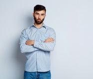 A bearded man with a serious expression on his face Royalty Free Stock Photography
