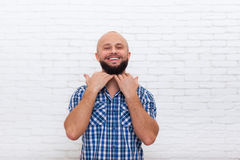 Bearded Man Show Beard Hand Happy Smiling Office Royalty Free Stock Photography