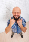 Bearded Man Show Beard Hand Happy Smiling Stock Image