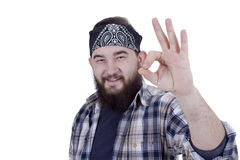 Bearded man show gesture ok Royalty Free Stock Photography