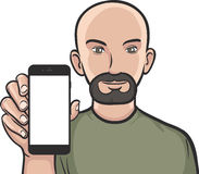 Free Bearded Man Showing A Mobile App On A Smart Phone Royalty Free Stock Photography - 87318937