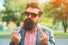 Free Bearded Man Showing Fuck You. Brutal Man, Lifestyle. Emotions And Gestures. Crazy Bearded Man Showing The Fuck Sign Royalty Free Stock Photos - 172346138