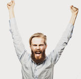 Bearded man showing hand up. Life style, happiness and people concept: young positivity bearded man showing hand up standing against grey background stock image