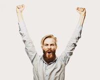 Bearded man showing hand up Royalty Free Stock Photography