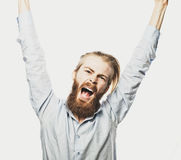 Bearded man showing hand up Stock Photos