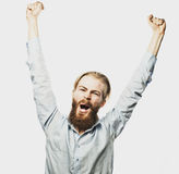 Bearded man showing hand up Stock Photography