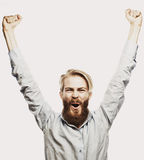 Bearded man showing hand up Stock Photo