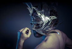 Bearded man with silver mask Venetian style. Mystery and renaiss Royalty Free Stock Photography