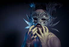 Bearded man with silver mask Venetian style. Mystery and renaiss Royalty Free Stock Photos
