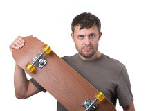 Bearded man with skateboard on white Royalty Free Stock Image
