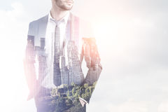 Bearded man and the sky, city, morning Royalty Free Stock Photo