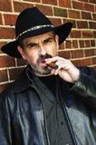 Bearded man smoking cigar Royalty Free Stock Image