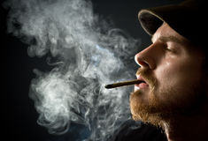 Bearded man smoking a cigar Stock Image