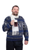 A bearded man stands with ale pint. A bearded man in a white scarf stands with ale pint on white background Stock Photography