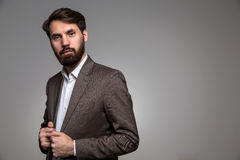 Bearded man in suit royalty free stock images