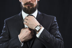 Bearded man in suit correcting his necktie Royalty Free Stock Image