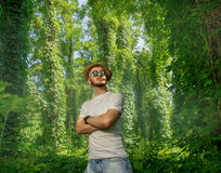 Bearded man in sunglasses and a hat Royalty Free Stock Photo