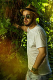 Bearded man in sunglasses and a hat Royalty Free Stock Photography