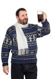 Bearded man in sweater holds stout pint. Bearded fat man in sweater holds stout pint on a white background Royalty Free Stock Photos