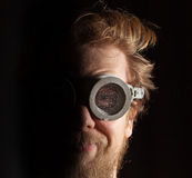 Bearded man in swimming glasses Stock Image
