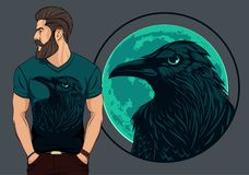 Bearded man in t shirt with raven. On night background of a big pale moon Royalty Free Stock Photos