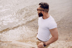 Bearded man on thebeach Royalty Free Stock Image