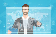 Bearded man trader touching the computer screen while browsing forex diagrams and the world map vector illustration. stock illustration